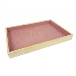 Plateau de présentation en bois et tissu aspect suédine rose