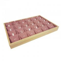 Plateau de présentation en bois et suédine rose 24 chaînes et pendentifs