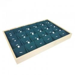Plateau de présentation en bois et suédine vert émeraude 24 chaînes et pendentifs