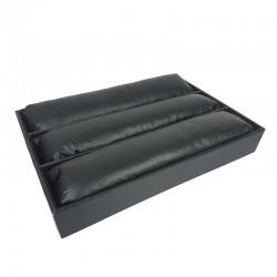 Présentoir à montres en simili cuir noir 3 grands coussins