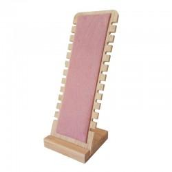 Présentoir vertical petite largeur en bois et suédine rose