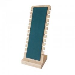 Présentoir vertical petite largeur en bois et suédine vert émeraude