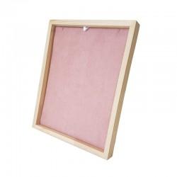 Présentoir cadre pour chaîne ou collier en bois et suédine rose