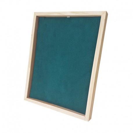 Présentoir cadre pour chaîne ou collier en bois et suédine vert émeraude