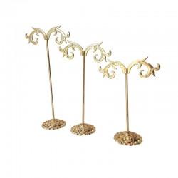3 Arbres à bijoux en métal doré pour 4 paires de boucles d'oreilles