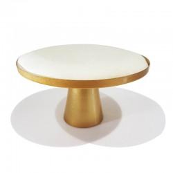 Table de présentation à bijoux en suédine écrue et pied central doré