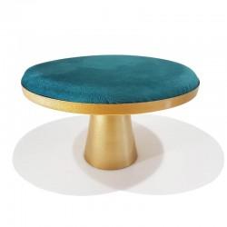 Table de présentation à bijoux en suédine bleu canard et pied central doré