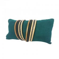 Lot de 20 coussins bracelets en suédine vert émeraude 13x7cm