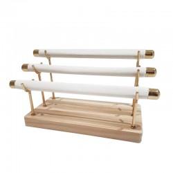 Porte bagues à 3 rouleaux en métal doré et simili cuir blanc