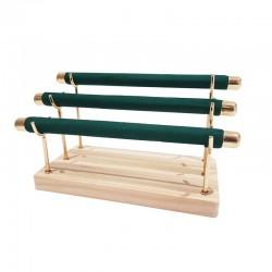 Porte bagues à 3 rouleaux en métal doré et suédine vert émeraude