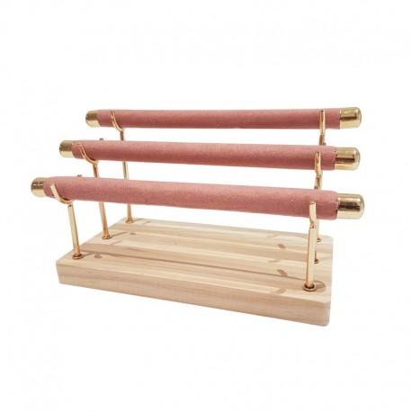 Porte bagues à 3 rouleaux en métal doré et suédine rose