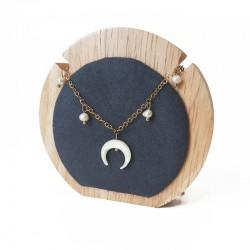 Petit porte collier rond en bois et suédine gris anthracite