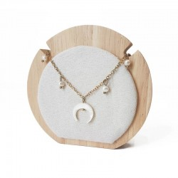 Petit porte collier rond en bois et suédine beige