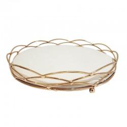 Plateau bijoux décoration en métal doré et velours écru