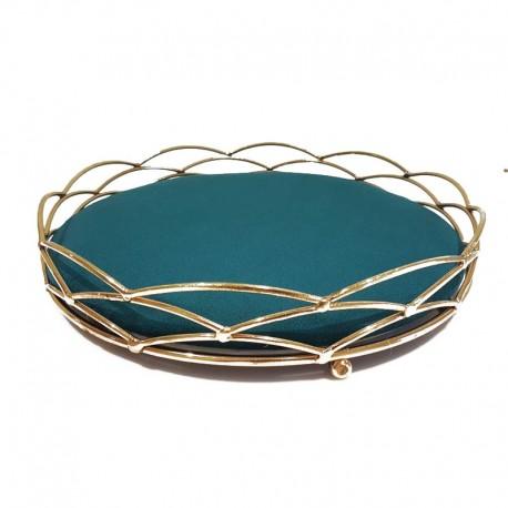 Plateau bijoux décoration en métal doré et velours bleau canard