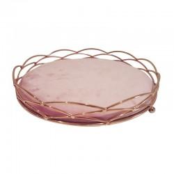 Plateau bijoux décoration en métal doré et velours rose