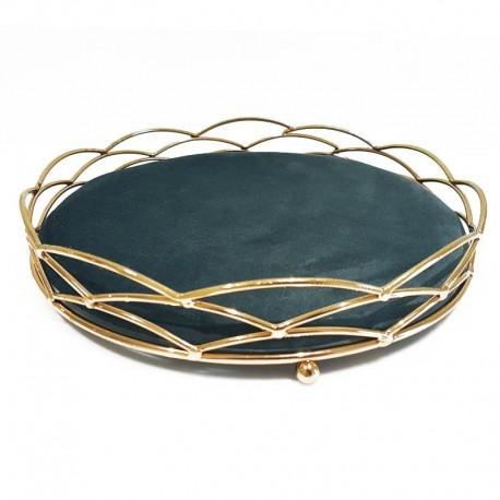 Plateau bijoux décoration en métal doré et velours gris anthracite