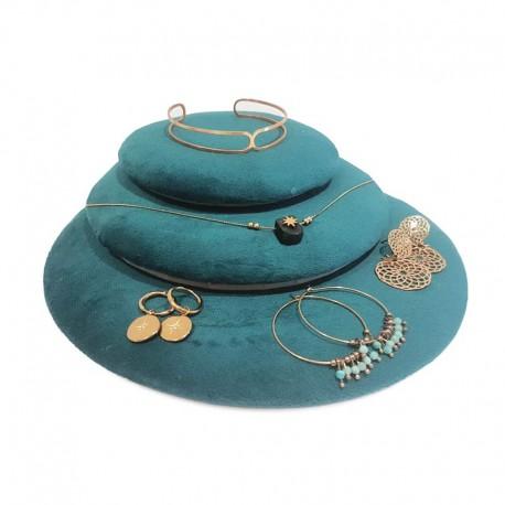 Lot de 3 volumes décoratifs en velours bleu canard